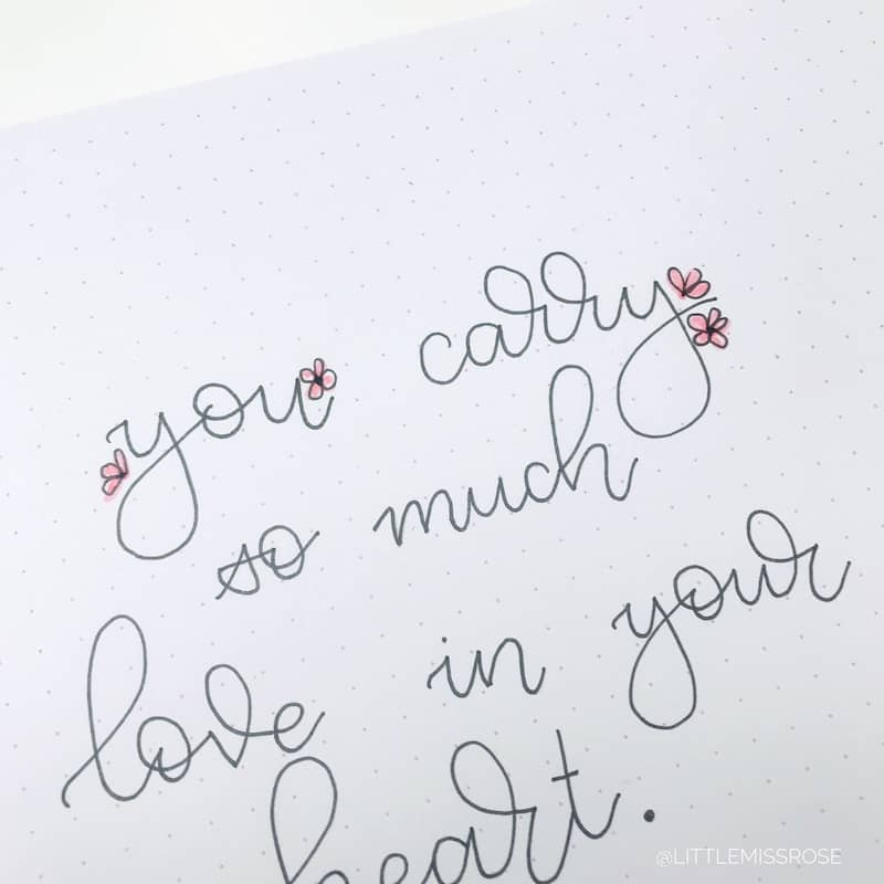 Check out this tutorial for romantic hand lettered fonts for your bullet journal