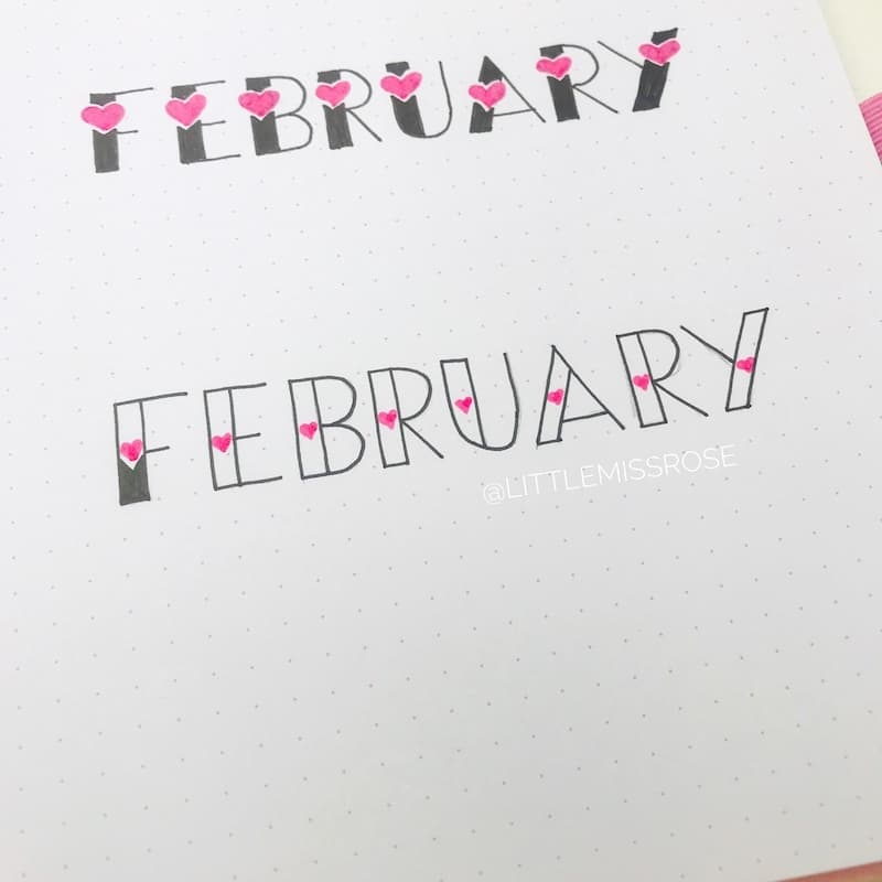 Romantic and simple hand lettering ideas for setting up your bullet journal