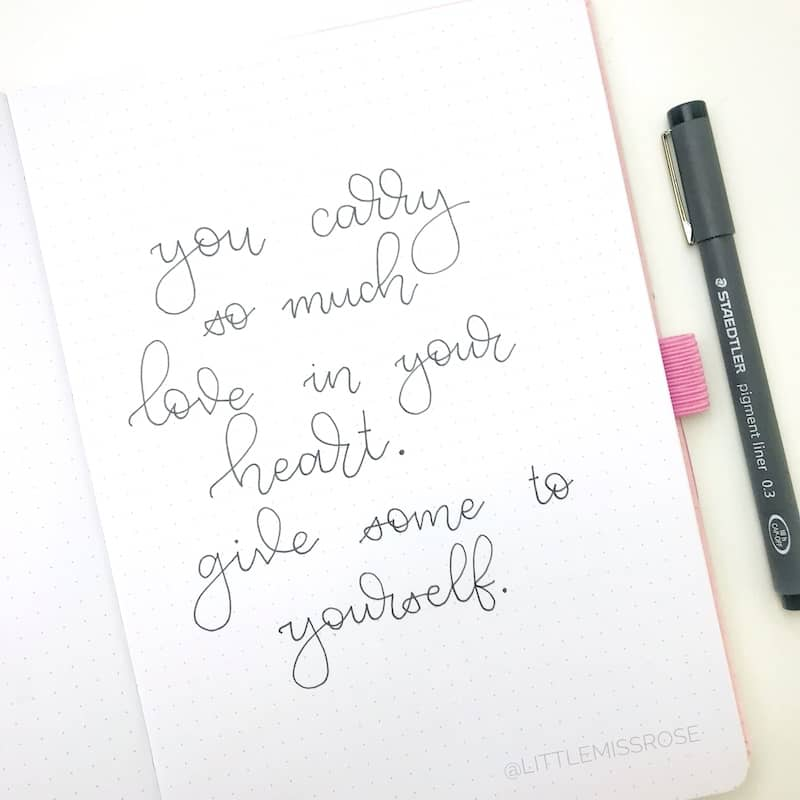 Romantic Hand lettering ideas - quote | Little Miss Rose
