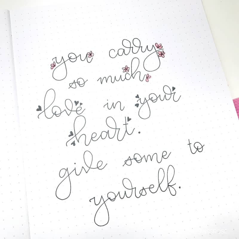 Romantic hand lettering ideas for your bullet journal. Simple and easy fonts to try.