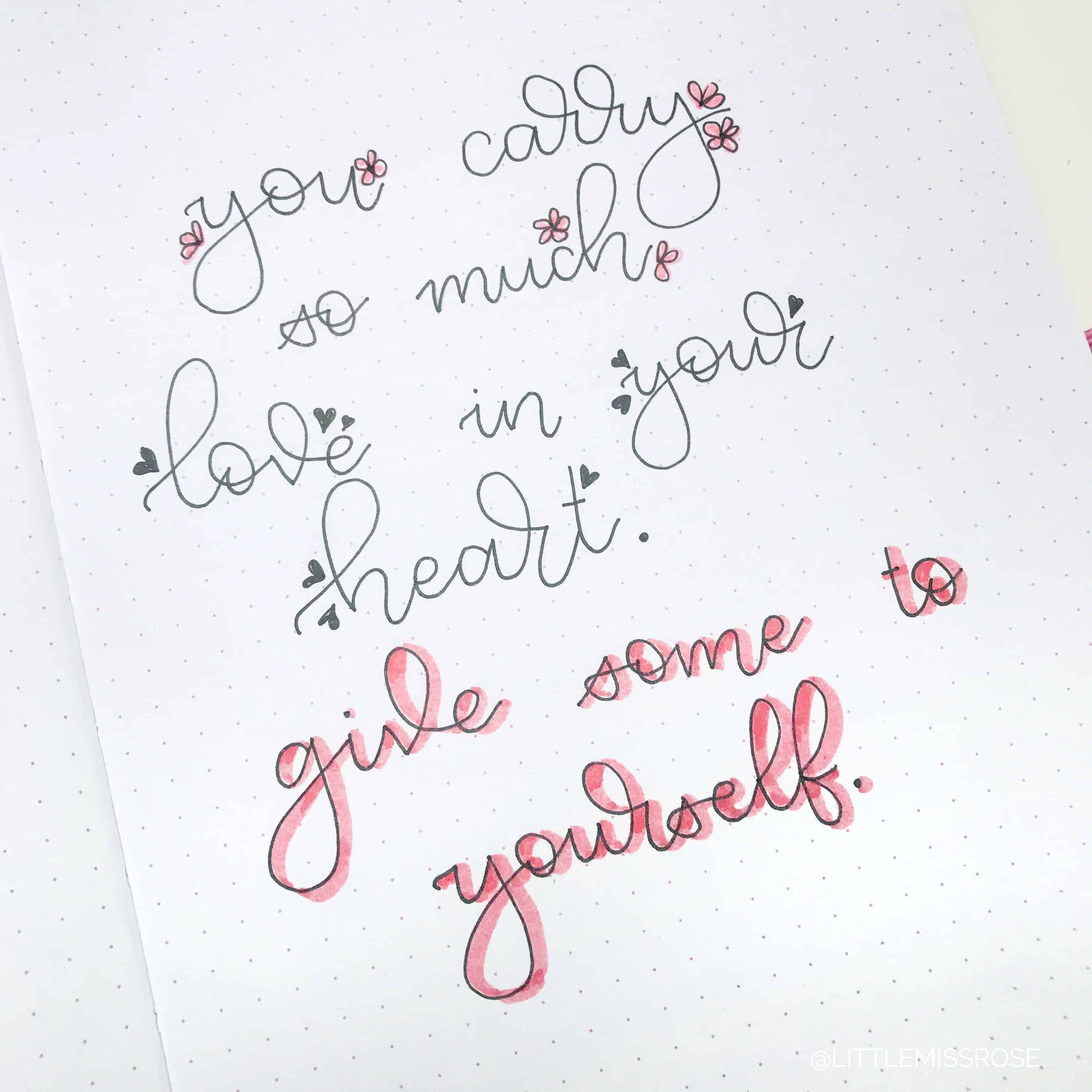 Romantic hand lettering ideas for your bullet journal that anyone can create!