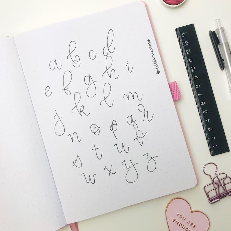 Romantic hand lettering ideas for your bullet journal - cursive alphabet