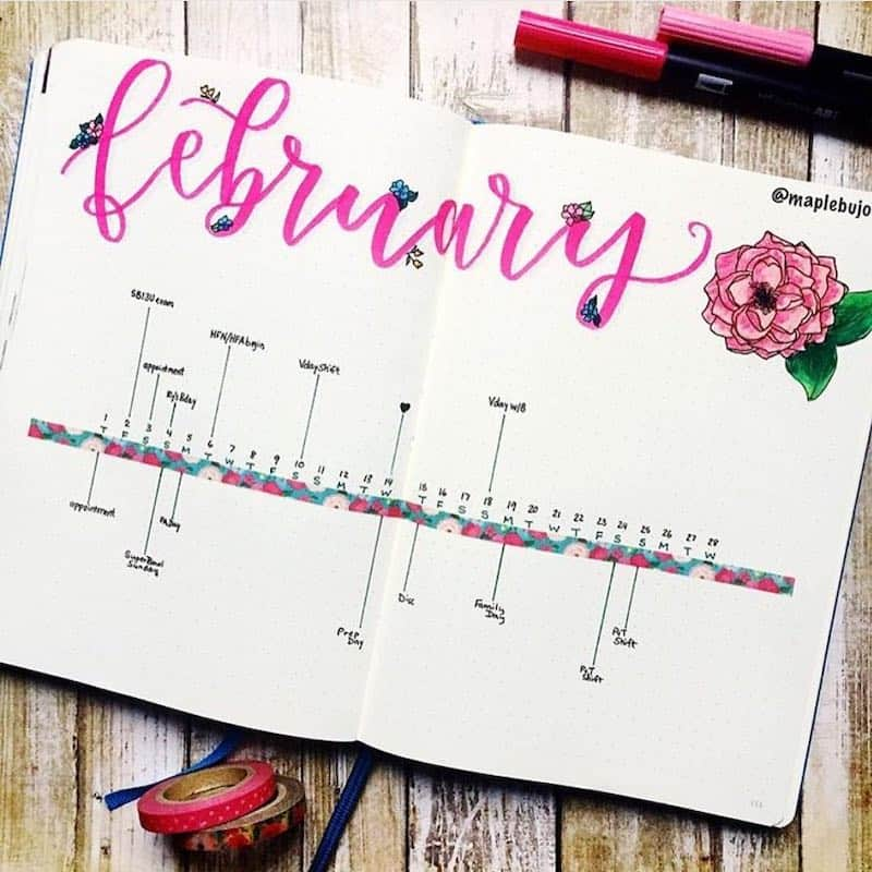 Lots and lots of valentine themed bullet journal ideas in this post! Monthly log by @maplebujo