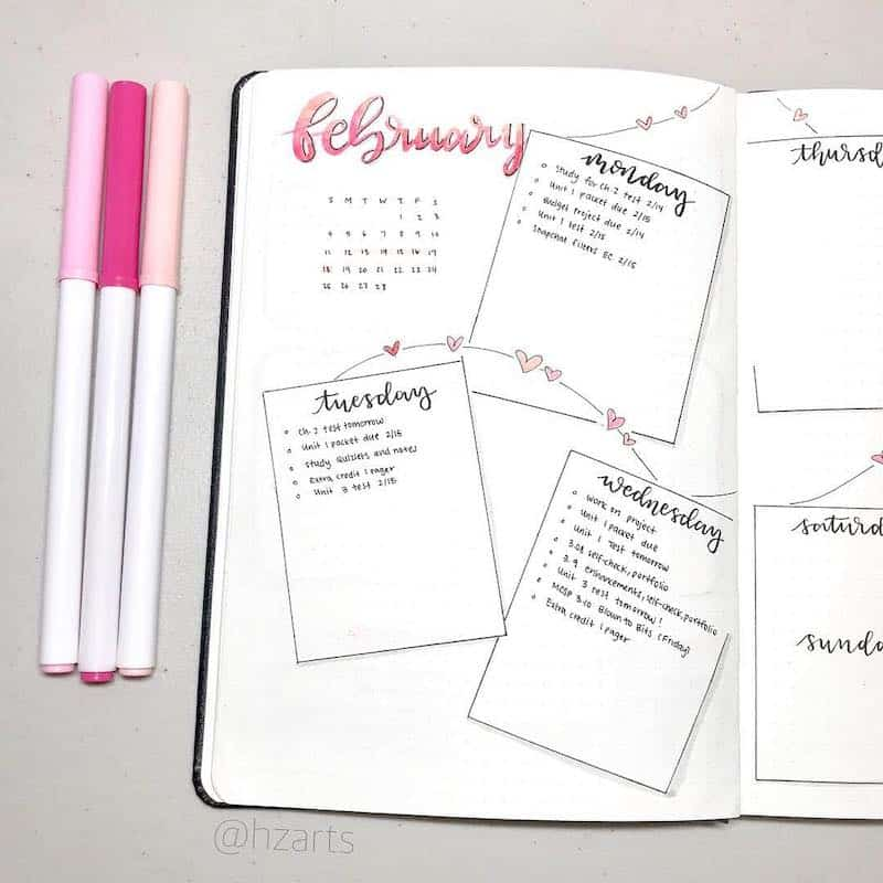 Check out these romantic valentines day bullet journal spreads - weekly spread by @hzarts