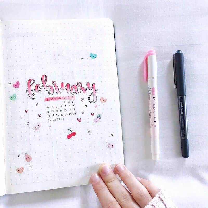 Bullet Journal Valentines cover page by @pens.paper.planning
