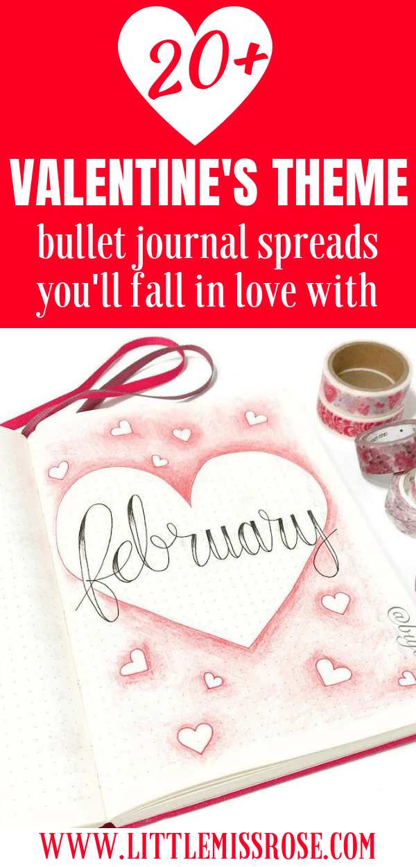 Check out these beautiful Valentine's Themed bullet journal spreads to try in your February set up!