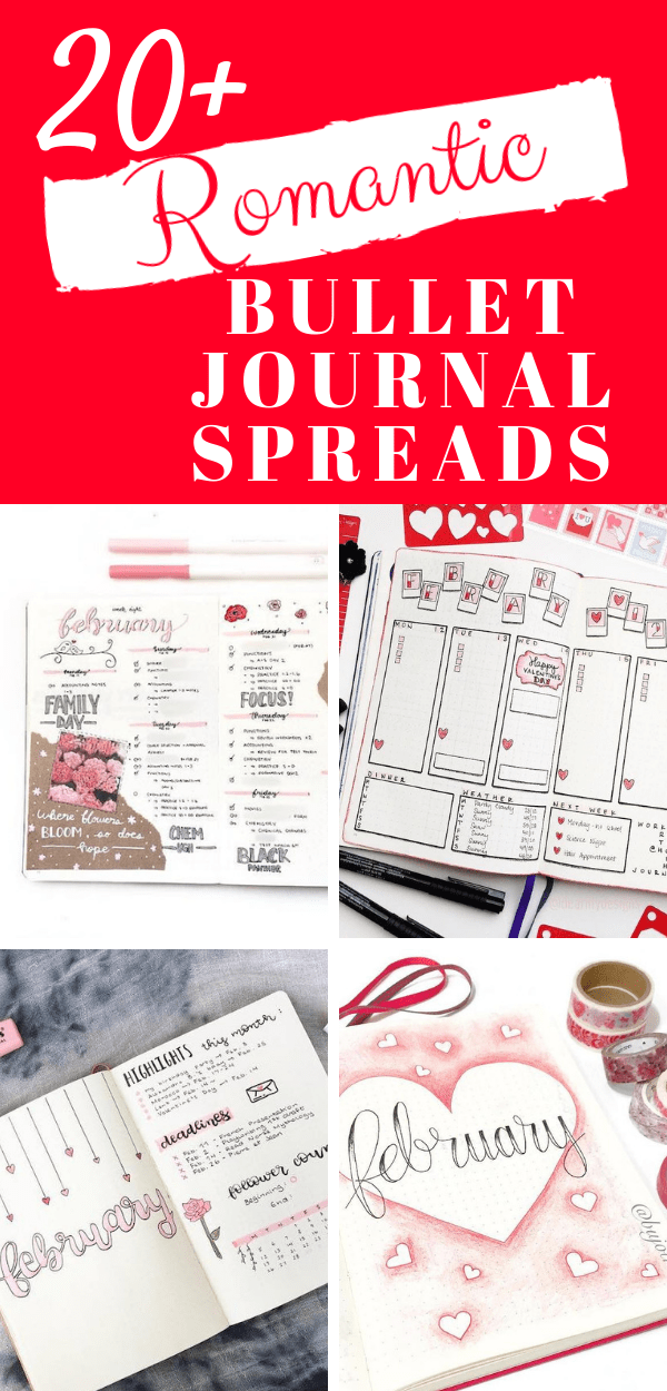20+ beautiful Valentine's Day themed bullet journal spreads for you to try in your bujo including monthly logs, daily logs, weekly spreads and habit trackers