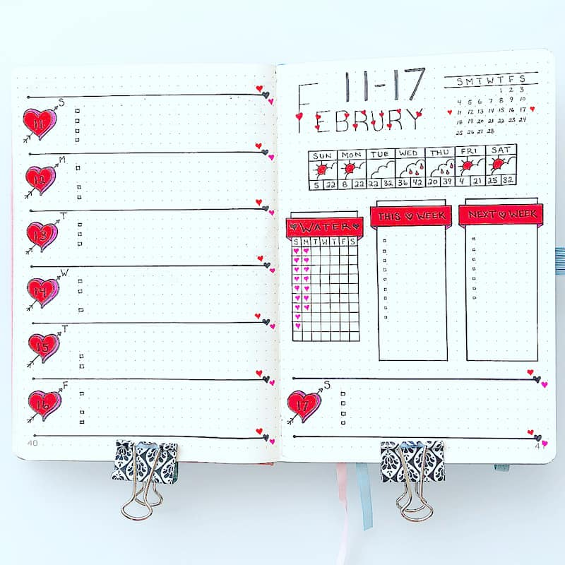 Find a stunning inspiration for your Valentine's Day themed bullet journal spreads here - weekly spread by @momdotlove