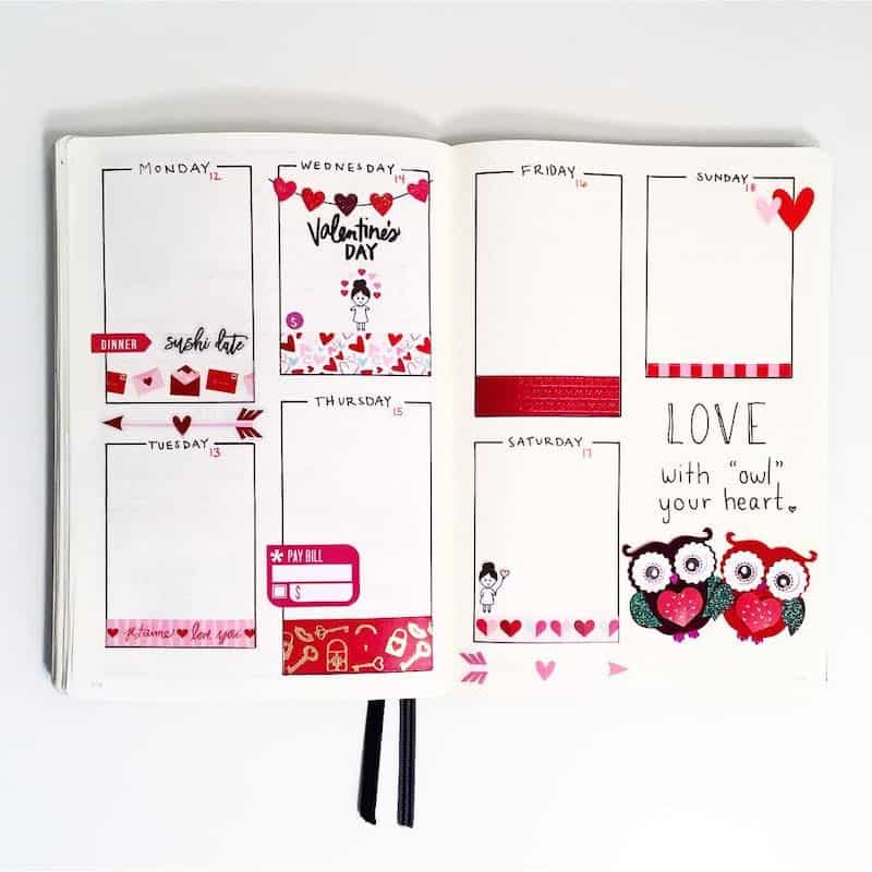 Check out all these amazing valentine's day themed bullet journal spreads - weekly log by @hayobujo