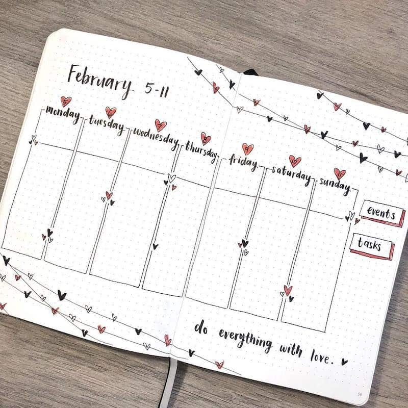 Find inspiration for your Valentine's themed bullet journal spreads in this article! - Weekly spread by @amandarachlee