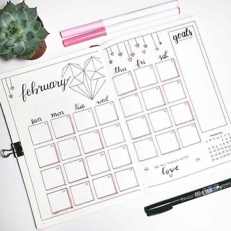 Check out all these amazing valentines themed bullet journal ideas - monthly log by @dot.daze