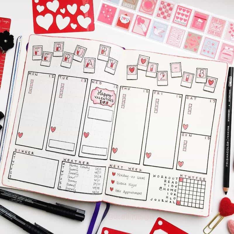 Stunning romantic valentines day themed spreads for your bullet journal - Weekly log by @dearlilydesigns