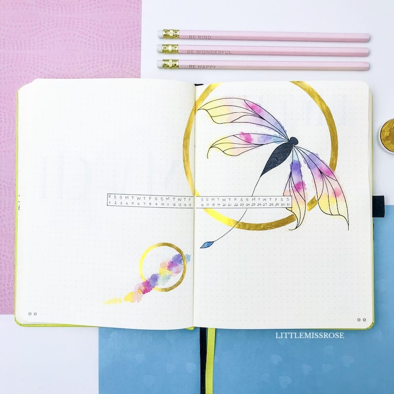 Check out my March 2019 Bullet journal plan with me using a dragonfly theme