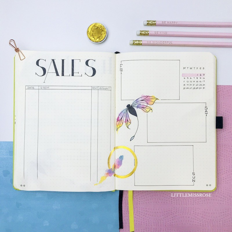 Bullet journal sales tracker and weekly log in my March 2019 plan with me. I've used a dragonfly theme this month and i love it!