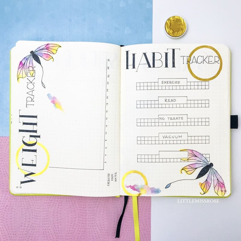 Bullet journal habit tracker. Little Miss Rose bullet journal plan with me March 2019 Dragon fly theme