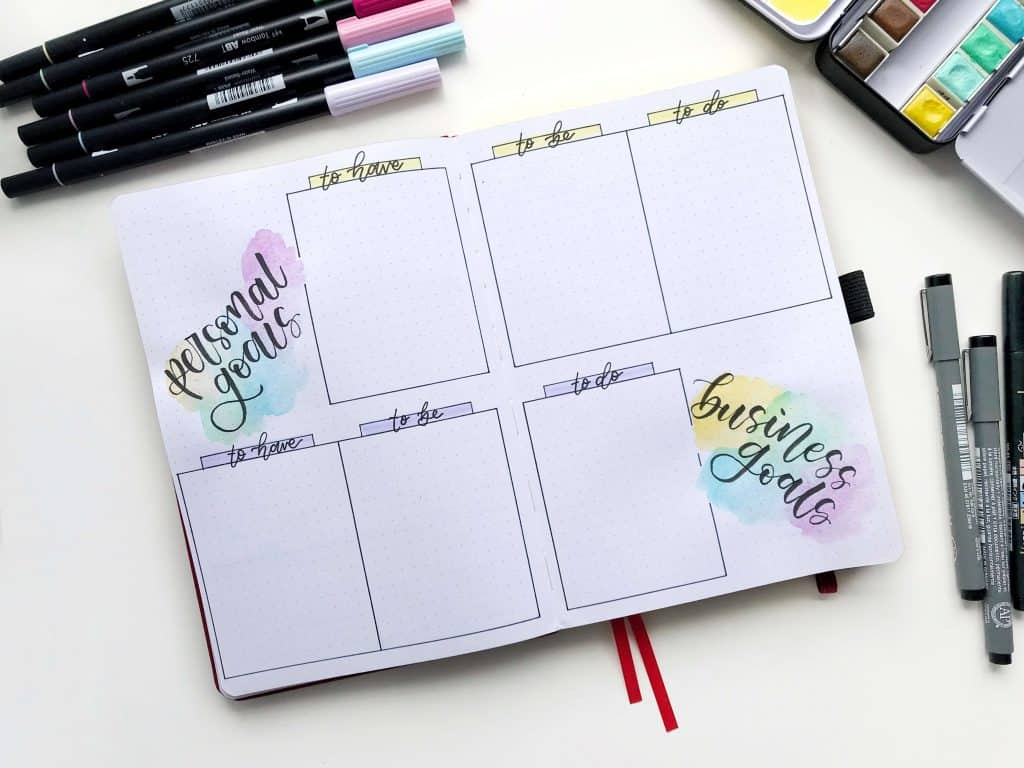 bullet journal personal goals and business goals pages