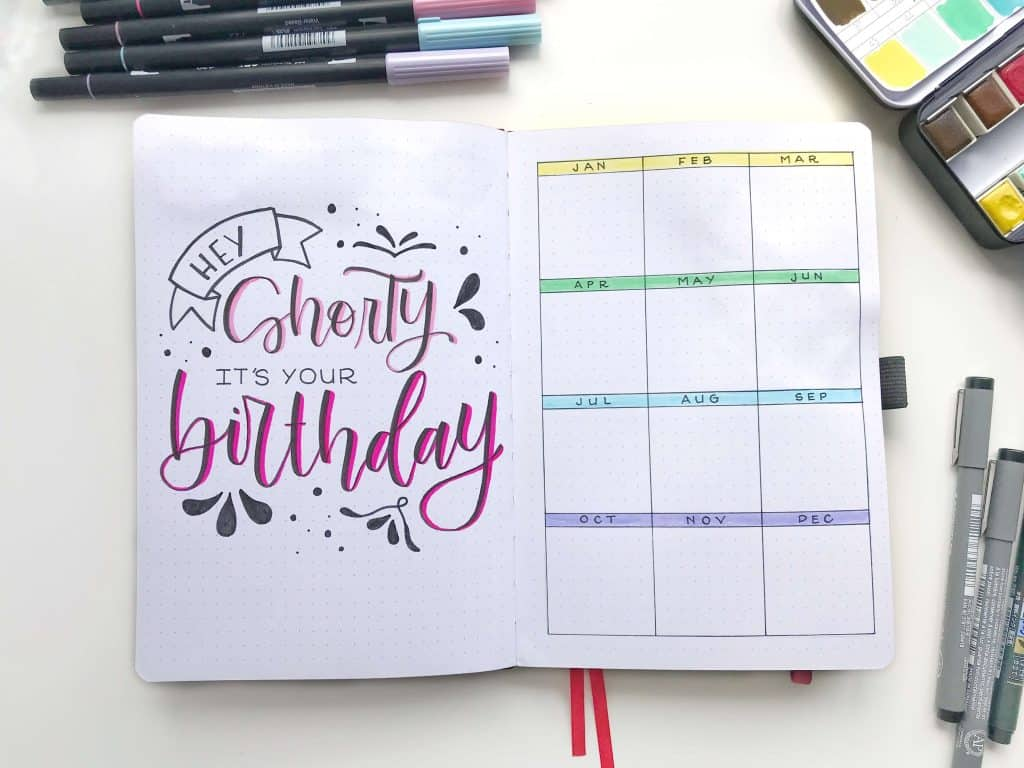 "Bullet journal with quote ""hey shorty it's your birthday"" and birthday tracker"