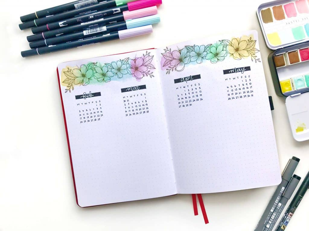 Image of Bullet journal future log decorated with floral stickers