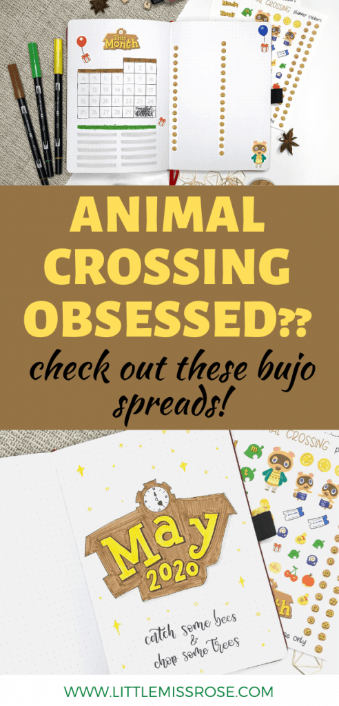 Animal Crossing bullet journal spreads
