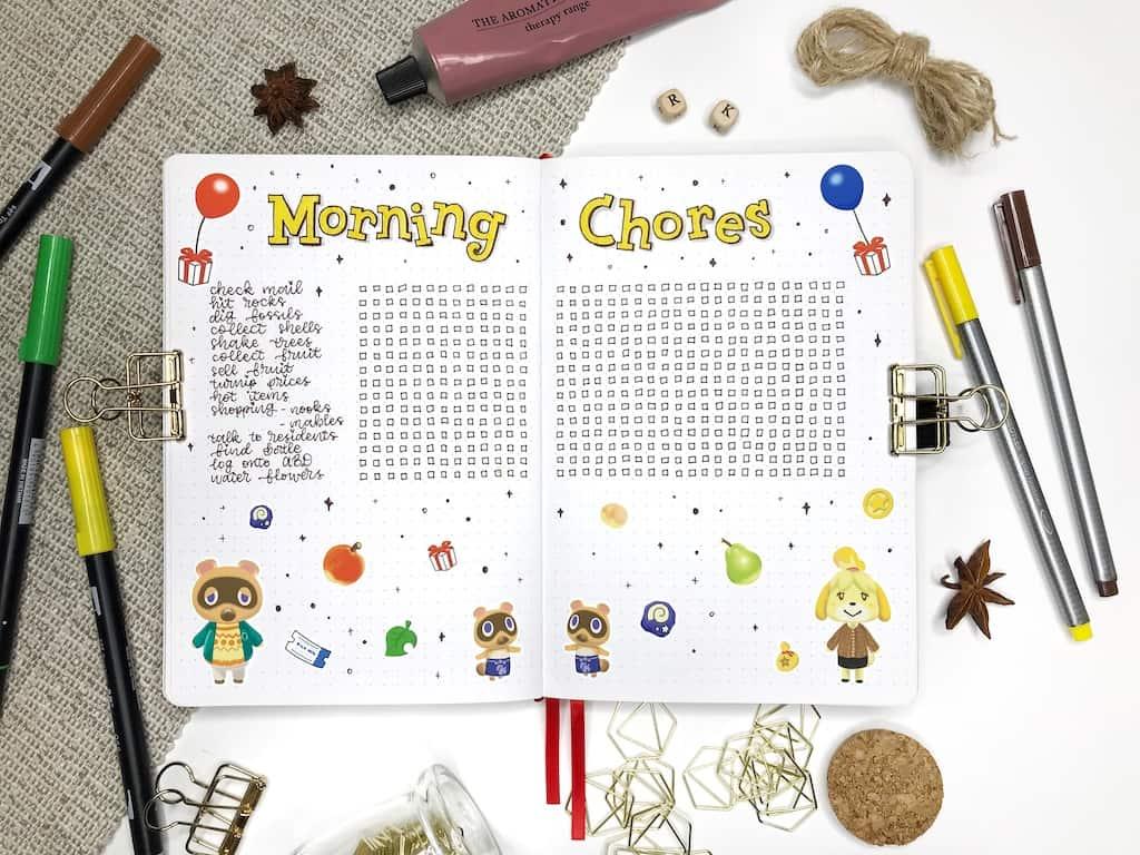 Animal Crossing Bullet Journal Daily tasks spread