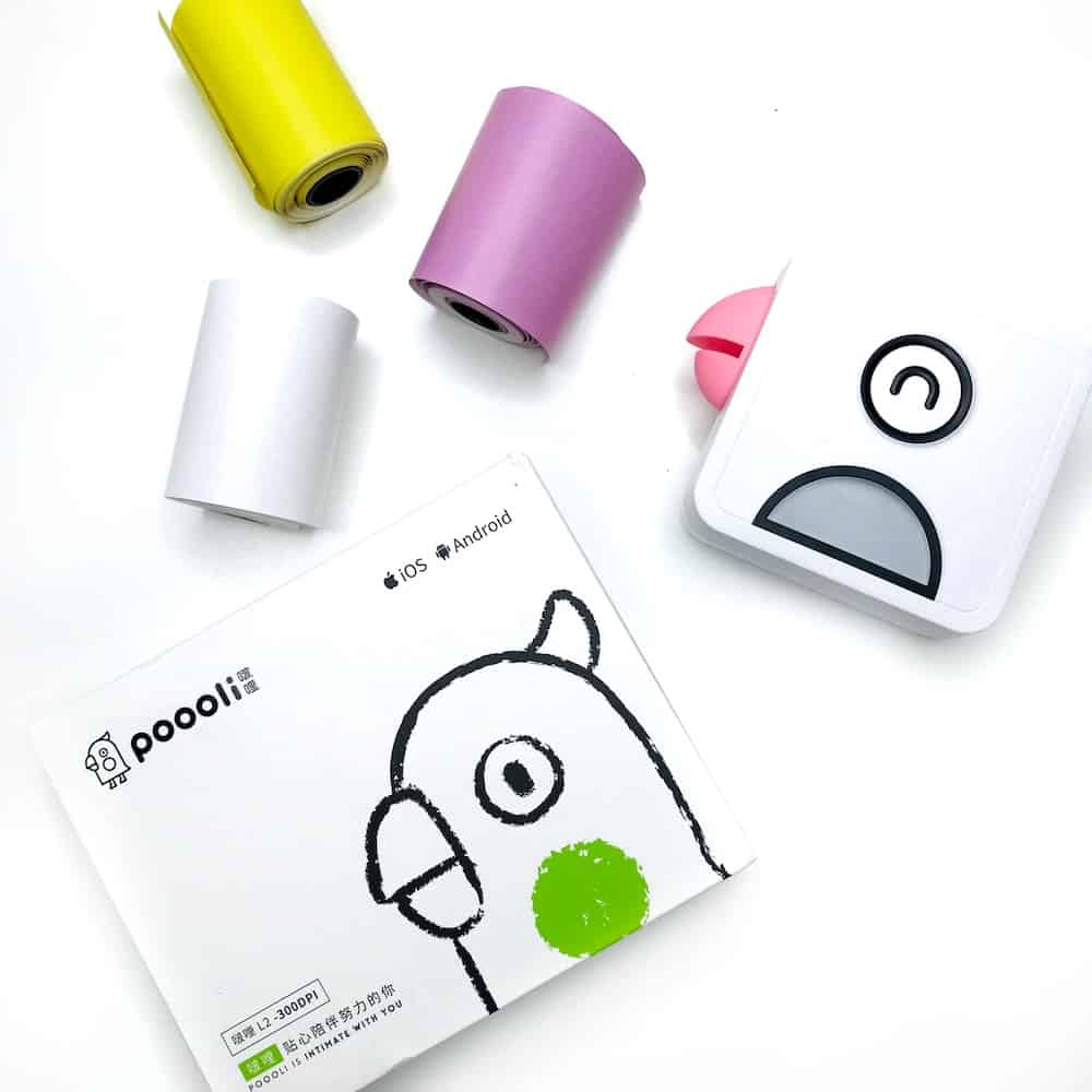 Poooliprint printer with coloured thermal paper